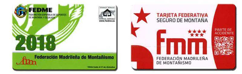 Foto tarjetas licencias federativas montaña 2018 - FEDME y FMM